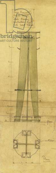 Design for an umbrella, hat and coat stand, shown in elevation and plan, c.1898-1899 (pencil, watercolour, oiled tracing paper)