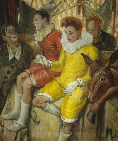 Circus Clowns with Prop Donkey, 1960 (oil on canvas)
