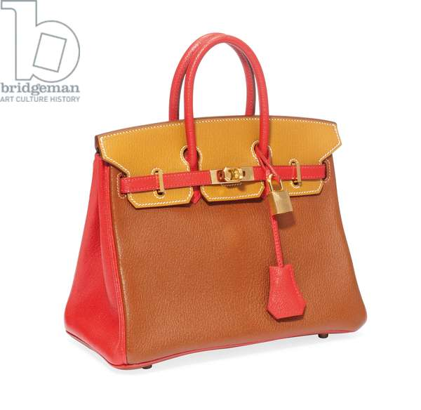 Tri-colour red, gold and brown goatskin leather Birkin bag, Hermes, 2009 (photo)
