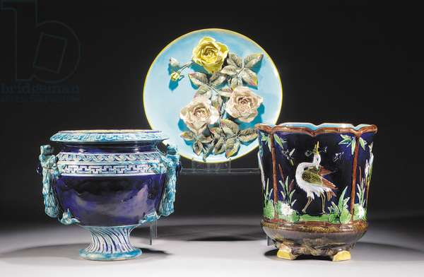 Majolica pale-blue-ground charger, late 19th century (ceramic)