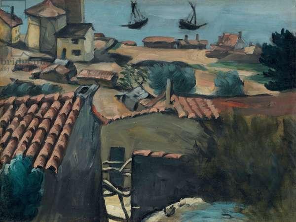 The Fishermen's Village at L'Estaque; Le village des pecheurs a l'Estaque, c.1870 (oil on canvas)