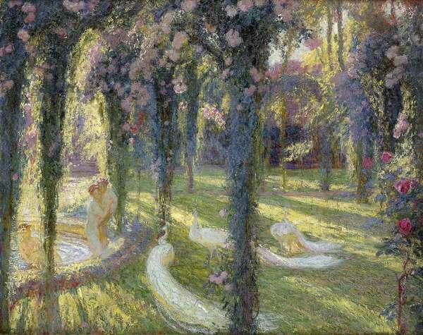 The Nymphs in the Garden; Les Nymphes dans un Jardin, (oil on canvas)
