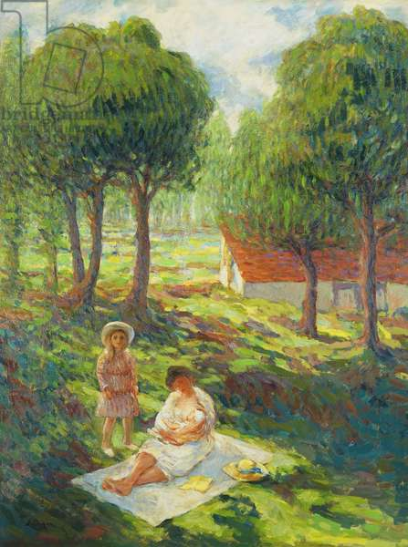 Mother and Child in a Landscape; Mere et Enfant dans un Paysage, 1900 (oil on canvas)