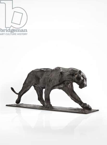 Panther walking, rear leg raised, c.1904 (patinated bronze)