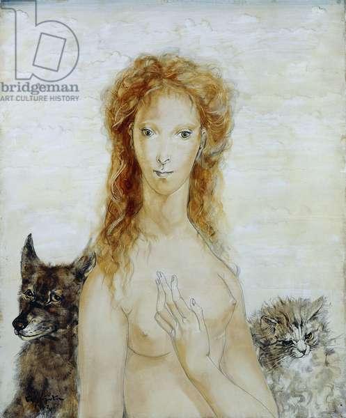 Portrait of a Young Woman with her Cat and Dog; Portrait de Jeune Fille avec son Chat et son Chien, 1952 (oil on canvas)