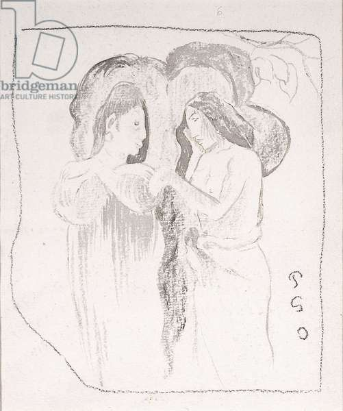 Two Tahitian Women, c.1894 (pen & ink, charcoal and wash on paper)