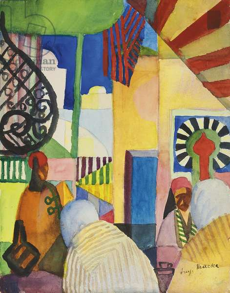 In the Bazaar, 1914 (w/c & pencil on paper)