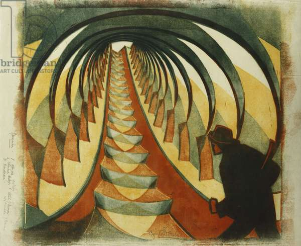 The Escalator, c. 1929 (linocut printed in colours on thin Japan)