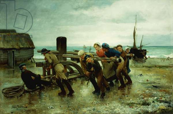 Hauling a Ship, 1887 (oil on canvas)