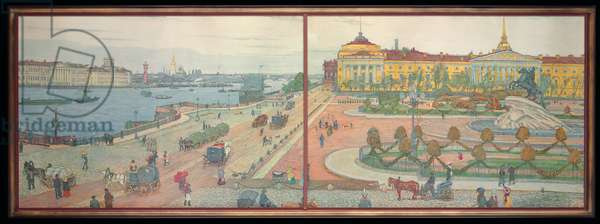 Panorama of St. Petersburg with Falconet's Bronze Horseman, 1912 (colour litho)