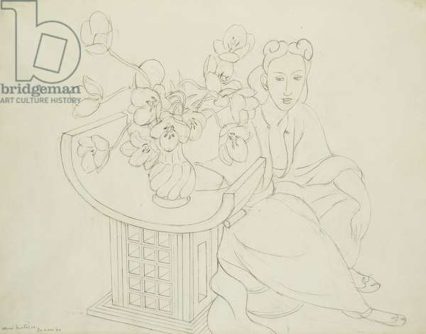 Seated Woman with Vase of Tulips; Femme Assise avec Vase de Tulipes, 1940 (pencil on paper)