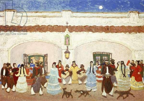 Dancing in the Patio; Baile en el Patio,  (oil on board)