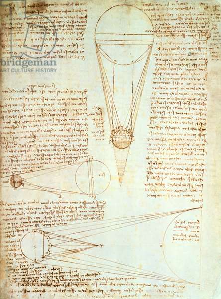 Studies of the Illumination of the Moon, fol. 1r from Codex Leicester, c.1506-08 (pen & ink on paper)