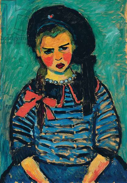 Girl with a Red Bow; Madchen mit roter Schleife, 1911 (oil on board)