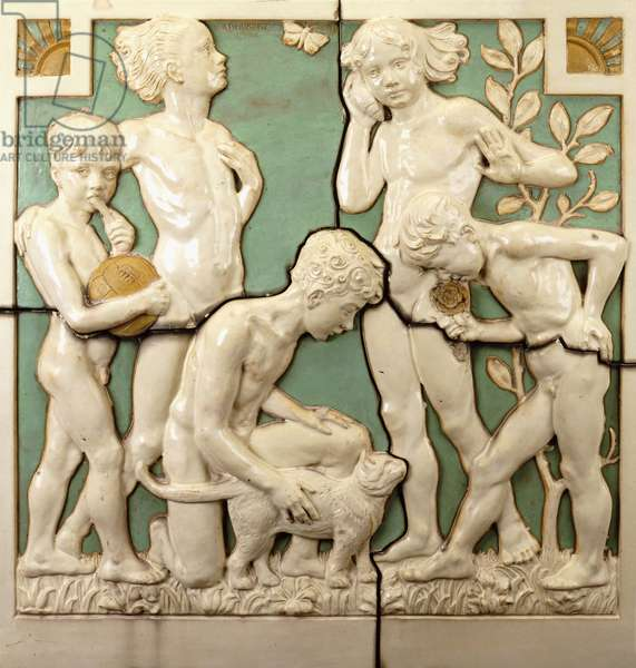An architectural relief panel depicting the five senses, 1931 (glazed stoneware)