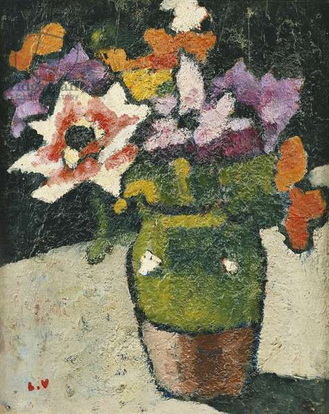 Flowers in a Vase; Bouquet de Fleurs dans un Vase, (oil on panel)