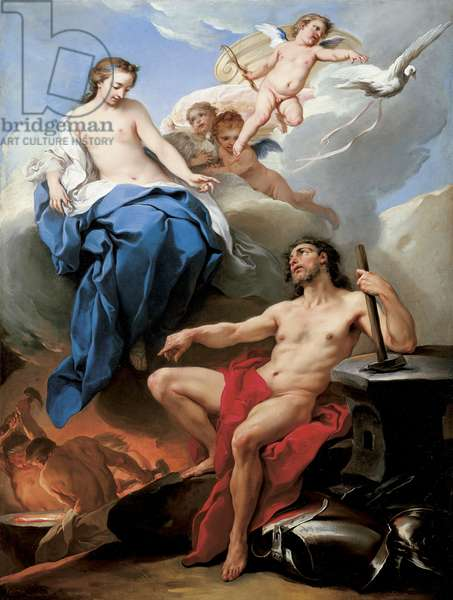 Venus requesting Vulcan to make arms for Aeneas (oil on canvas)
