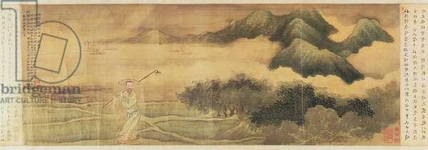 The Poet Wang Shizhen (1634-1711) Carrying a Hoe (He Chu Tu) c.1700-03 (ink and colour on silk)