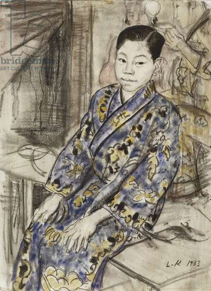 A Chinese Juggler, 1933 (w/c, bodycolour, black crayon & charcoal on paper)