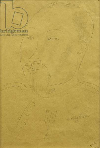 Guillaume Apollinaire as a Soldier; Guillaume Apollinaire en Soldat, (pencil on paper)