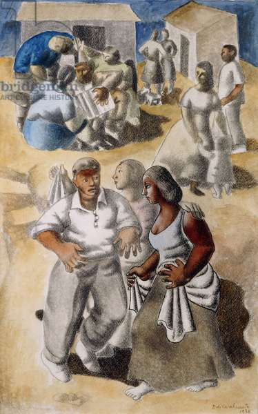 Party in Suburbia, 1938 (gouache, pen and black ink and pencil on paper)