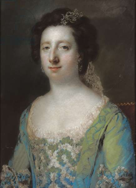 Portrait of The Hon. Mrs Bridget Gunning, half length, in a blue ruffled gown, 1758 (pastel on paper)