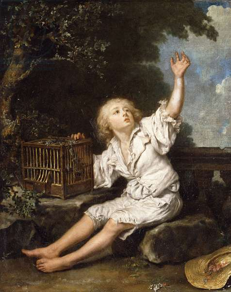 A Boy with an Empty Birdcage, (oil on canvas)