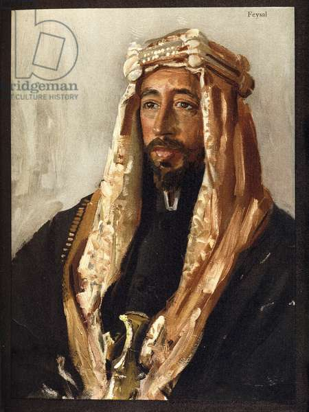 Portrait of Prince Feysal I of Iraq (1883-1933) (friend of T.E. Lawrence), 1926 (colour print)