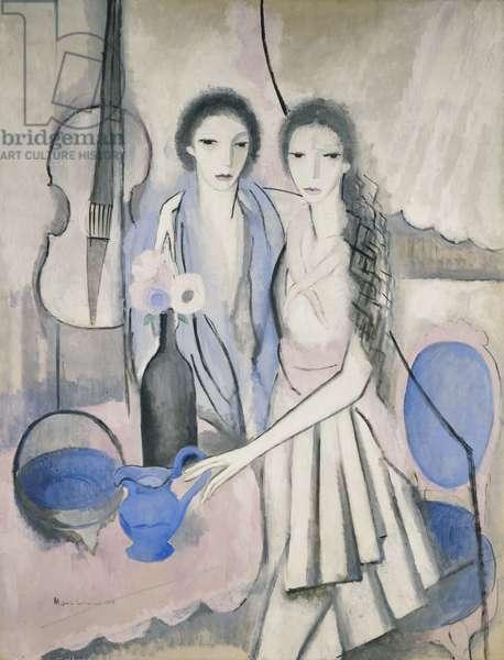Two Sisters with a Cello; Les Deux Soeurs au Violoncelle, 1913-1914 (oil on canvas)