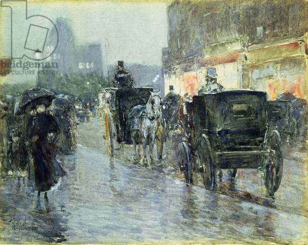 Horse Drawn Cabs at Evening, New York, c.1890 (w/c and gouache on paper)