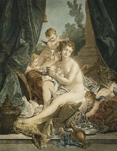 La Toilette de Venus, After Francois Boucher, 1783 (etching with engraving printed in colour (black, blue, red and y)