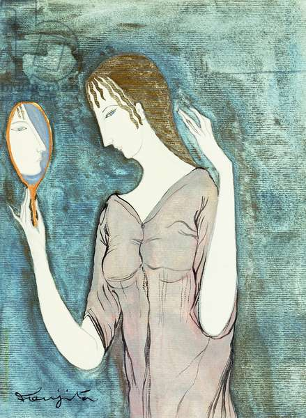 Young Woman and Mirror; Jeune Femme au Mioir,  (watercolour and gold paint over pencil on paper)