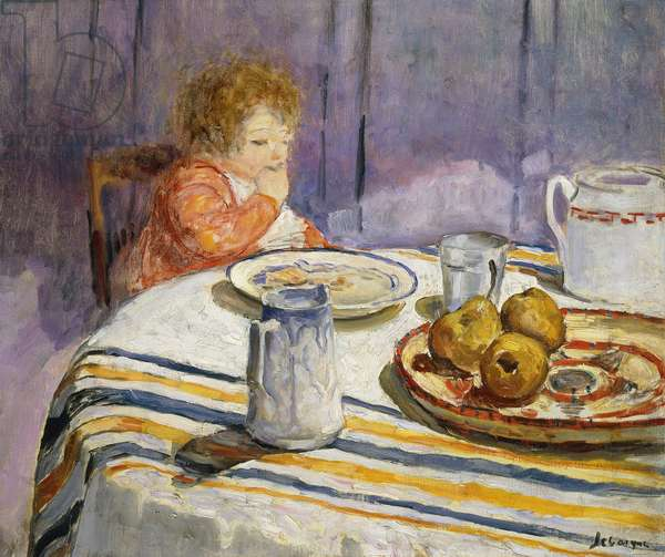 The Breakfast; Le Petit Dejeuner, (oil on canvas)