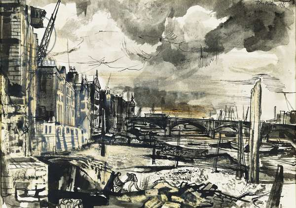 River View at Cannon Street, 1946 (watercolour, pen, brush and black ink and grey wash)