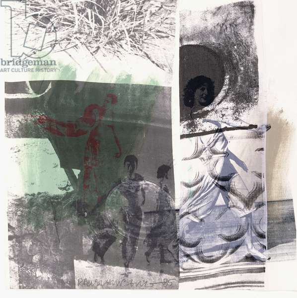 Untitled, 1985 (solvent transfer, acrylic and collage on fabric laminated on pap)