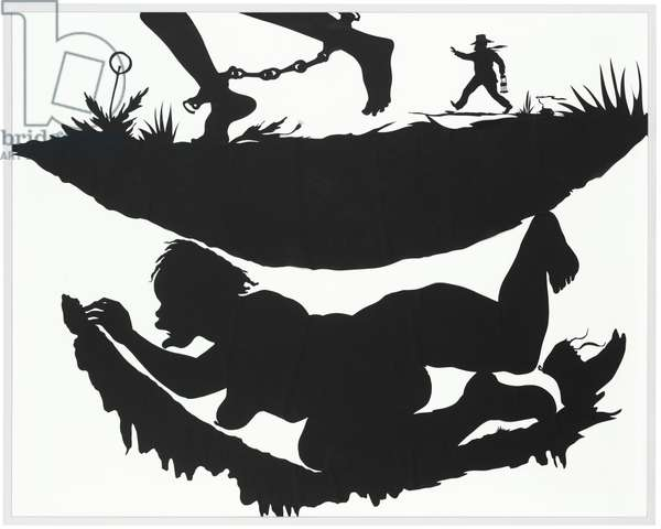 Picturesque: Complicity In (one of five panels), 2006 (paper cut-out laid down on panel)