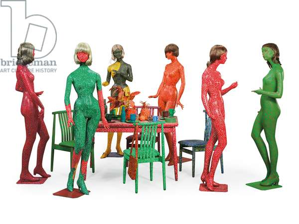 Self Obliteration, 1966-74 (six painted mannequins, six wigs, four painted chairs, & painted table with mixed media table setting)