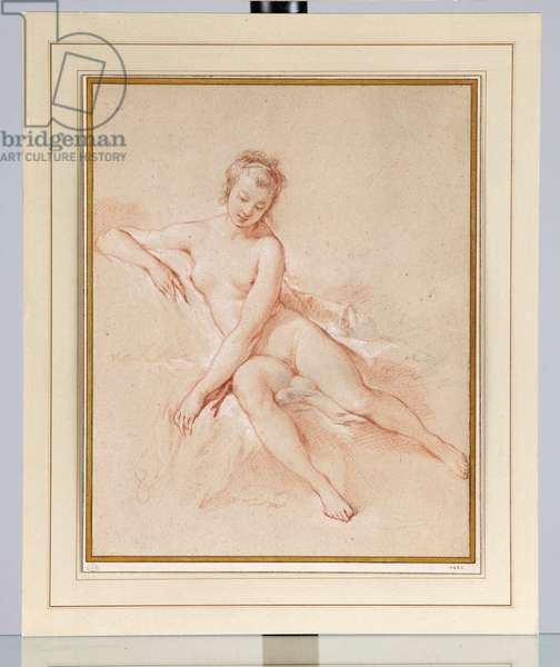 A seated female nude (black, red & white chalk on buff paper)