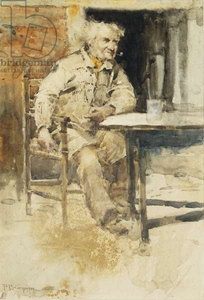 Seated Peasant, (watercolour)