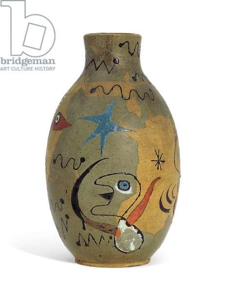 Vase, 1941-44 (partially painted & glazed earthenware vase)
