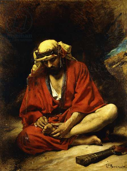 An Arab plucking a Thorn from his Foot,  (oil on canvas)