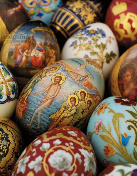 A collection of painted porcelain easter eggs by the Imperial Porcelain Factory, c. 1850-1870 (painted porcelain, gilt)