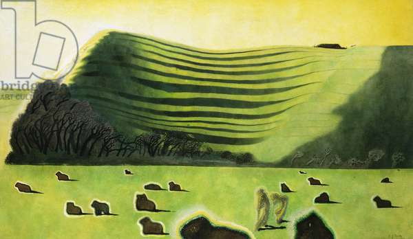 Sheep on the Downs or Under the Hill, (watercolour and bodycolour)