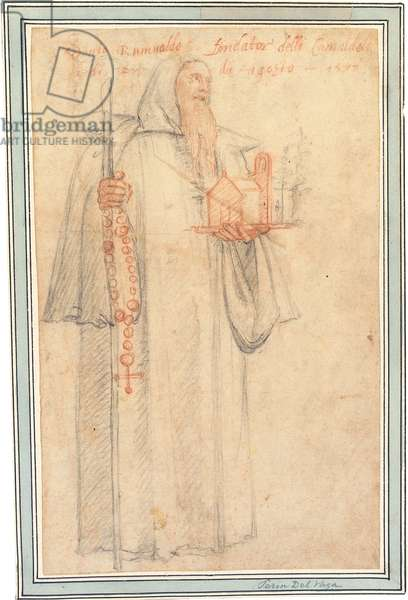Fra Stefano, Procurator of the Camaldolites at Vallombrosa, as Saint Romuald, holding a model of a church and a rosary, 1577 (chalk on paper)