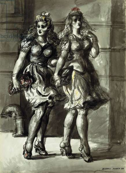 Two Young Women Walking, 1944 (brush and ink wash and watercolour on paper)