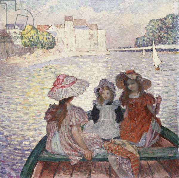 Three Girls in a Boat (oil on canvas)