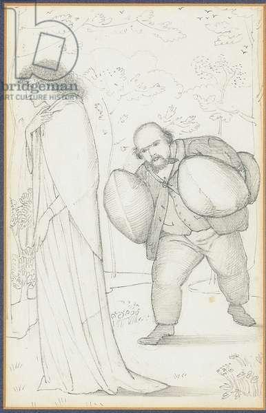 Dante Gabriel Rossetti bringing cushions to Jane Morris (pencil on paper)