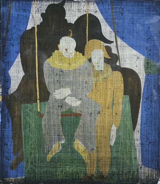 Two Clowns; Deux Clowns - Twee Clowns, 1928 (oil on glass)