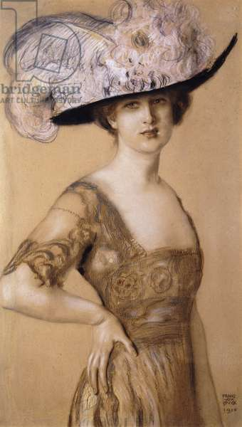 Portrait of a Lady wearing a Feather Hat, 1910 (pastel on board)