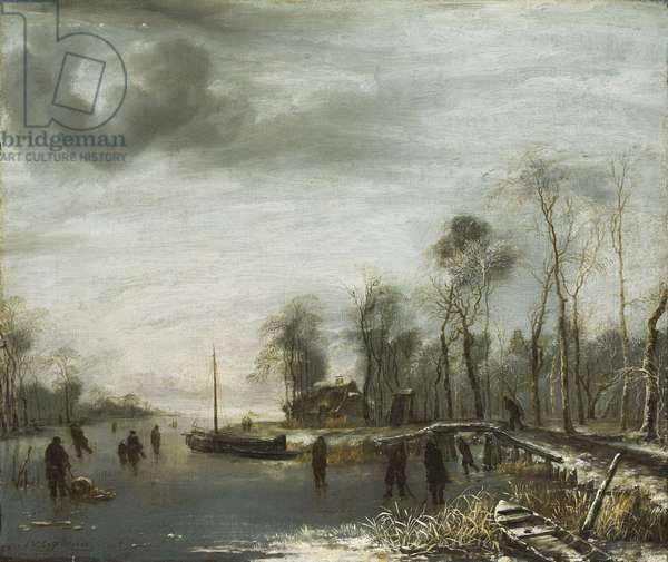 A Winter Landscape with Skaters and Colf Players on a frozen Waterway, 1653 (oil on canvas)